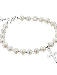cheap -925 sterling silver and white dyed cultured freshwater pearl christian cross charm strand bracelet
