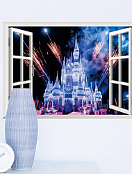 cheap -3D Fake Windows Living Room Children's Room Bedroom Background Decoration Stickers Can Be Removed