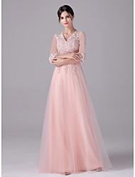 cheap -A-Line Empire Elegant Wedding Guest Formal Evening Dress V Neck Half Sleeve Floor Length Tulle with Sash / Ribbon Appliques 2021