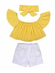cheap -3pcs Cute Baby Girls Solid Off Shoulder Elastic Fashion Blouse Headband Ruffle Lace Shorts