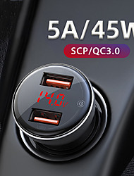 cheap -Dual USB Car Charger 45W Cigarette Lighter Support SCP QC3.0 Fast Charging For Mobile Phone Auto Charger Accessories