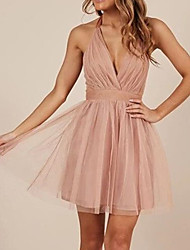 cheap -A-Line Minimalist Sexy Homecoming Cocktail Party Dress Halter Neck Sleeveless Short / Mini Tulle with Sash / Ribbon Pleats 2021