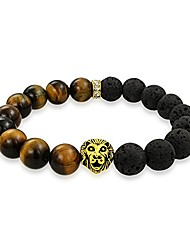cheap -lion head black lava rocks brown tigers eye round bead strand stretch beads bracelet for women for men gold plated alloy