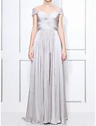 cheap -A-Line Celebrity Style Elegant Prom Formal Evening Dress Sweetheart Neckline Short Sleeve Floor Length Chiffon with Pleats 2021