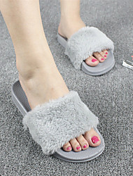 cheap -women fluffy solid color open toe comfortable home slippers