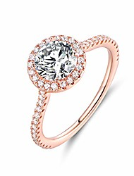 cheap -18K Rose Gold Plated Round Halo Cut Cubic Zirconia Engagement Ring (Rose Gold, 8)