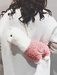 cheap -women lamb wool cute cartoon 3d alpaca shape soft creative small shoulder bag crossbody bag with chain