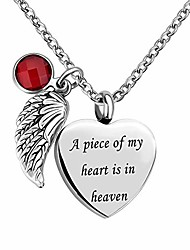 cheap -Angel Wings Charm Heart Cremation Ashes Urn Pendant Necklace Keepsake Memorial Jewelry
