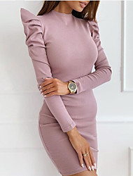 cheap -Women's Sheath Dress Knee Length Dress - Long Sleeve Solid Color Fall Sexy Puff Sleeve 2021 Black Red Blushing Pink Khaki S M L XL