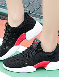cheap -Women's Flats Flat Heel Round Toe Sporty Daily Outdoor Running Shoes Walking Shoes Mesh Solid Colored Black / Red White Black