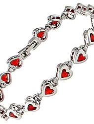 cheap -Hearts Tennis Bracelet [18.5cm/7inch] with Heart Cut Gemstones CZ [Red Ruby] in 18K White Gold Plated, Simple Modern Elegance
