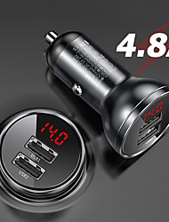 cheap -Dual Cigarette Lighter USB Car Charger 4.8A 24W Fast Charge For Xiaomi Samsung Phone Car Charger Black Silver