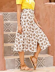 cheap -Women's Daily Basic Streetwear Skirts Floral Split Print White Black