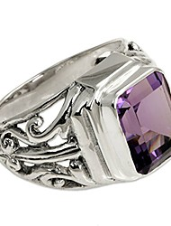 cheap -Square Amethyst Silver Men's Ring, Wisdom Warrior'