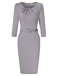 cheap -women 3/4 sleeve scoop neck 1950s vintage pleated bodycon dress business work pencil dress - grey -