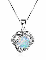 cheap -silver plated rhinestone heart shaped pendant necklace imitation opal charm clavicle chain jewelry for women,white