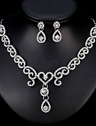 cheap -Women's Jewelry Set Bridal Jewelry Sets Tassel Fringe Heart Fashion Silver Plated Earrings Jewelry Silver For Christmas Wedding Halloween Party Evening Gift 1 set