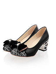 cheap -Women's Heels Chunky Heel Round Toe Casual Daily Walking Shoes PU Rhinestone Bowknot Sequin Solid Colored Almond Black Purple