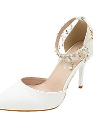 cheap -Women's Wedding Shoes Stiletto Heel Pointed Toe Wedding Pumps Wedding Walking Shoes PU Rhinestone Pearl Buckle Solid Colored Picture of white 9 cm heel height