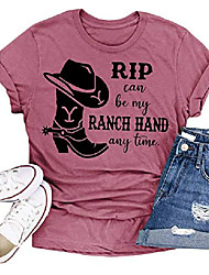 cheap -Women's Rip Can Be My Ranch Hand Any Time T-Shirt Country Music Graphic Tees Letter Print Short Sleeve Tops (Cameo Brown, Small)