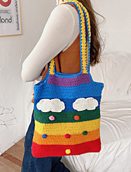 cheap -women rainbow stripe cartoon cute casual youth wool knitted bag handbag tote crossbody bag