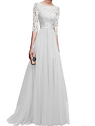 cheap -A-Line Jewel Neck Floor Length Polyester Bridesmaid Dress with Appliques / Ruching