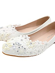 cheap -Women's Wedding Shoes Flat Heel Pointed Toe Wedding Flats Sweet Wedding PU Rhinestone Solid Colored Picture flat shoes