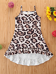 cheap -Toddler Little Girls' Dress Leopard Khaki Knee-length Sleeveless Basic Dresses Children's Day