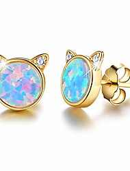 cheap -Gift for Christmas  18K Gold Plating  Silver Opal Cat Stud Earrings Cute Cat with Natural Stone Hypoallergenic Earrings for Women and Girls (Yellow Gold-Blue Opal)