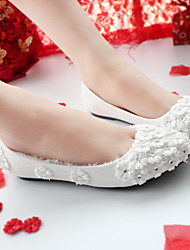 cheap -Women's Flats Flat Heel Round Toe Casual Sweet Wedding Daily Walking Shoes PU Solid Colored White Red