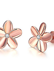cheap -YEAHJOY Lady's Rose Gold Flower Shape Sparkling Stud Earrings with Cute Small Crystals For Women (Rose Gold)