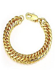 cheap -Heavy Metal Cuban Curb Link Chain Men's Bracelets Solid Stainless Steel Bracelet (Gold 8mm7.48inch)