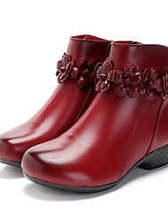 cheap -pure color casual genuine leather ankle boots
