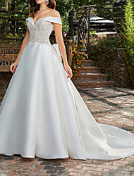cheap -A-Line Wedding Dresses Off Shoulder Court Train Lace Satin Sleeveless Country Formal Luxurious with Bow(s) Appliques 2021