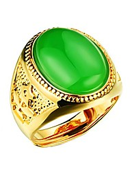 cheap -Mens Stainless Steel 18K Gold Plated Emerald Engagement Oval Onyx Band Rings Adjustable, Green
