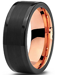 cheap -tungsten wedding band ring 8mm for men women 18k rose gold plated flat cut black grey brushed polished size 7.5
