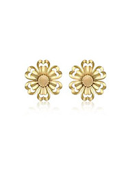 cheap -Women's 9 ct (375) Yellow Gold Satin and Polished 7.5 mm Stud Earrings