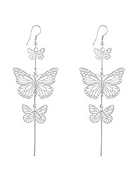 cheap -Alloy Earring Noble Hollow Butterfly Pendant Earrings Women Girl Jewelry Gift for Christmas Thanksgiving Graduation Ceremony(Silver)