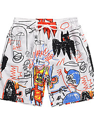 cheap -Men's Swim Trunks Board Shorts Swimsuit Print White Swimwear Bathing Suits Casual Sports