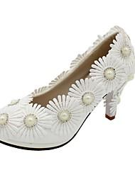 cheap -Women's Wedding Shoes Stiletto Heel Round Toe Wedding Pumps Sweet Wedding PU Sequin Flower Solid Colored 3 cm heel [standard size] 5 cm heel [standard size] Flat bottom[standard code]