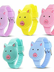 cheap -5 Pieces Girls Digital Watches, Cute Rabbit/Squirrel/Panda/Pig/Tiger Kids Watches,Different Color LED Wrist Watch for Little Girl Toddler Gifts (Pig)