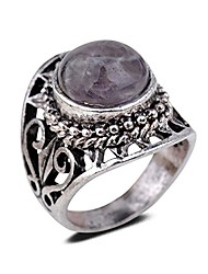cheap -Vintage Antique Round Cut Purple Imitation Amethyst Retro Silver Plated Heart Hollow Ring Women Jewellery