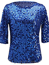 cheap -Women Sequin Sparkle Glitter Tank Cocktail Party Tops Shining T-Shirt Blouses (XXXL, Blue)