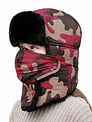 cheap -Trapper Hat,Women Men Winter Bomber Ski Hat Faux Fur Ushanka Aviator Russian Hat Trooper Earflap Caps Beanie Outdoor Windproof Thermal Warm Cycling Snowboard Hunting Hats with Mask Ear Flap (Red)