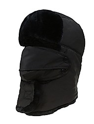 cheap -Unisex Winter Hat Hunting Hat Ear Flaps and Mask Warm Hat with Windproof Mask Russian Style Ear Flap Hat for Men Women 7 Colors Black
