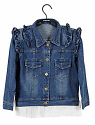 cheap -girl blue denim coat outwear denim jacket kids lace cowboy jacket dresses 160 9/10y