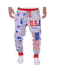 cheap -men's casual american flag pattern sport jogger pants