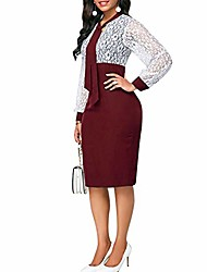 cheap -plus size women lace patchwork tie neck back slit long sleeve midi sheath dress red m
