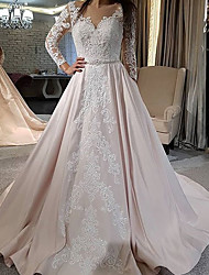 cheap -Ball Gown Wedding Dresses Jewel Neck Court Train Lace Satin Long Sleeve Formal Romantic Luxurious with Appliques 2021