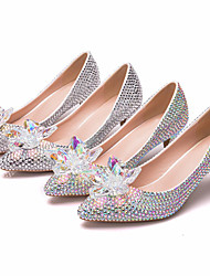 cheap -Women's Wedding Shoes Pumps Pointed Toe Wedding Pumps Business Sexy Minimalism Wedding Party & Evening PU Rhinestone Crystal Sparkling Glitter Solid Colored Color Block Silver Rainbow
